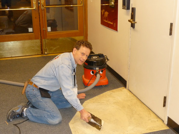 Carpet repair in firehall - in progress